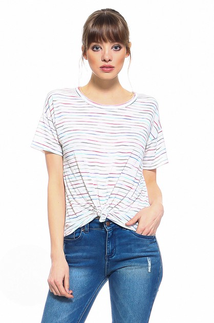 RAINBOW COLOR STRIPED TOP WITH TIED - orangeshine.com