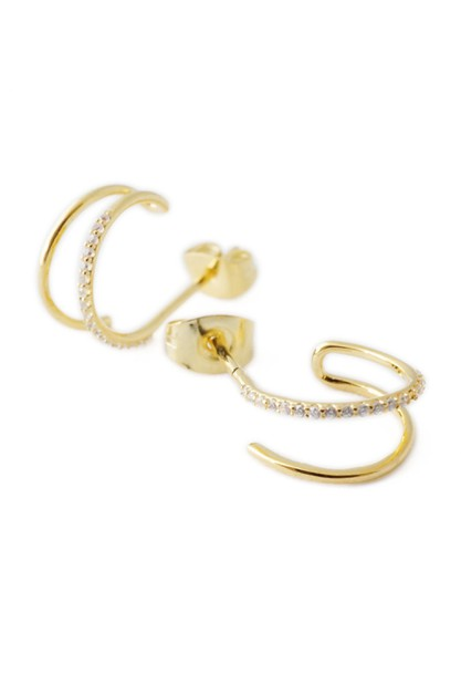 Double Crystal Hoop Earrings - orangeshine.com