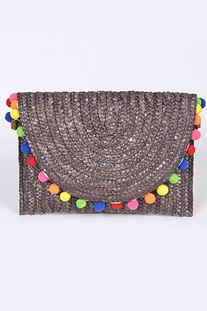 Simple Colored Puff Balls Clutch - orangeshine.com
