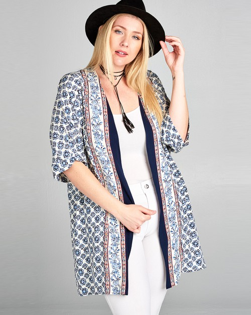 Border printed cardigan - orangeshine.com