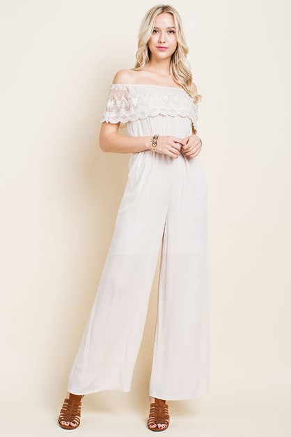 Eyelet Lace Off Shoulder Jumpsuit - orangeshine.com