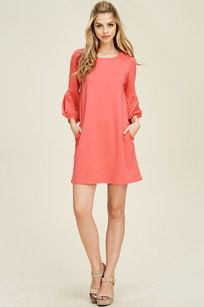 Puff Sleeves Side Pockets Dress - orangeshine.com