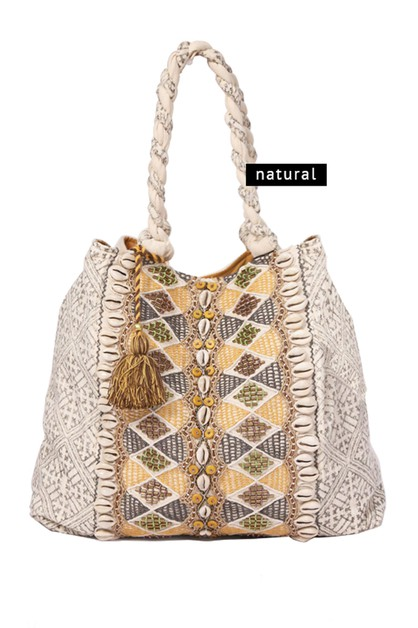 BEADED TOTE WITH SEASHELLS - orangeshine.com