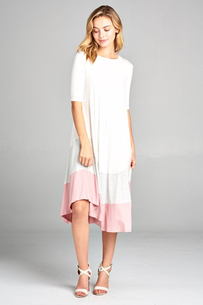 COLOR BLOCK SHORT SLEEVE SWING DRESS - orangeshine.com