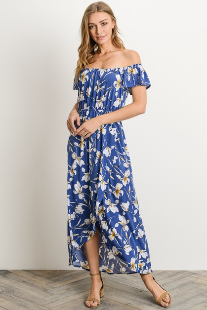Floral Hi-Low Hem Off Shoulder Dress - orangeshine.com