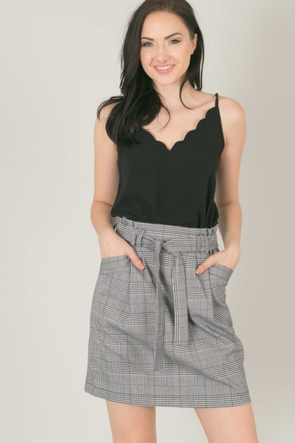 Plaid Paper Waist Tie Skirt - orangeshine.com