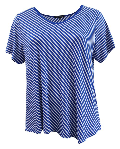 Diagonal Stripe Round Neck Tee - orangeshine.com