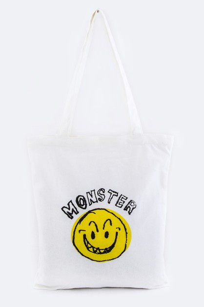 MONSTER Emoji Canvas Tote - orangeshine.com