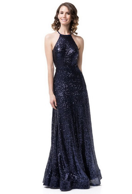 Halter Sequins Long Navy Dress - orangeshine.com