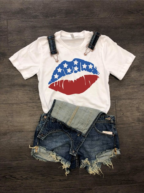 USA Patriotic Lips Crew Neck Tee - orangeshine.com