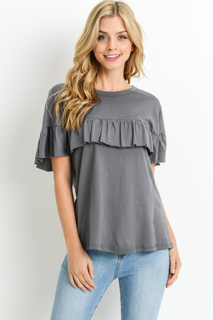 Ruffled Short Sleeve Top - orangeshine.com