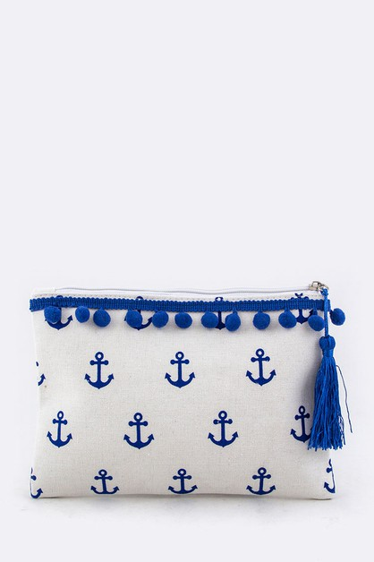 Anchor PomPom Canvas Pouch - orangeshine.com