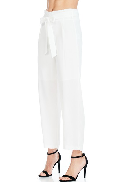 WAIST SELF TIED STRAIGHT LEG PANTS - orangeshine.com