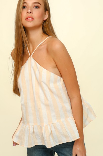 Woven striped halter top - orangeshine.com