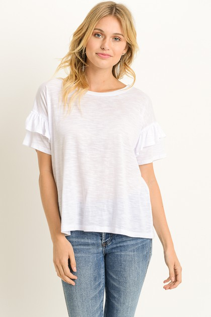 Short Sleeve Ruffle Top - orangeshine.com