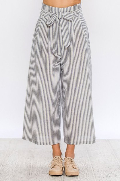 STRIPE PAPER BAG PANTS  - orangeshine.com