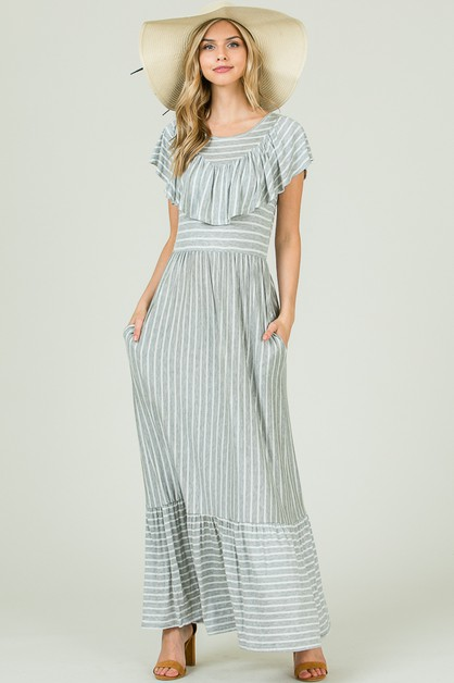 RUFFLED STRIPED MAXID RESS - orangeshine.com
