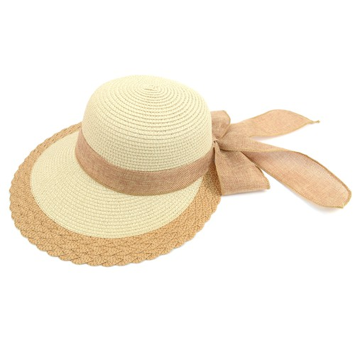 Women Ribbon Bow Back Floppy Hat - orangeshine.com