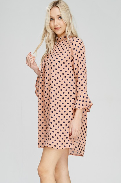 Polka Dot Pleated Dress - orangeshine.com