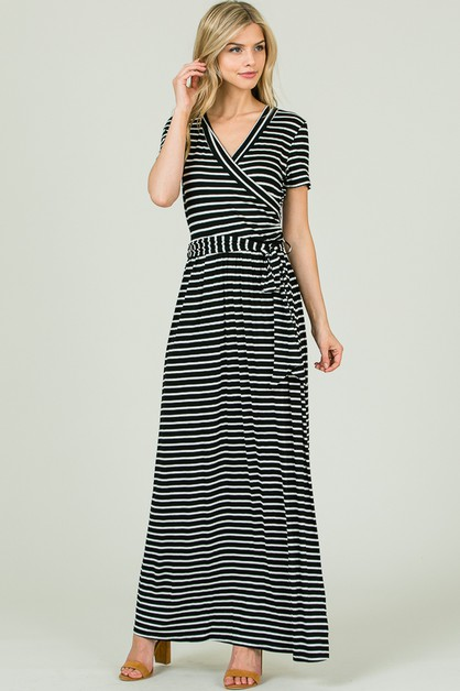 STRIPED WRAP MAXI DRESS - orangeshine.com