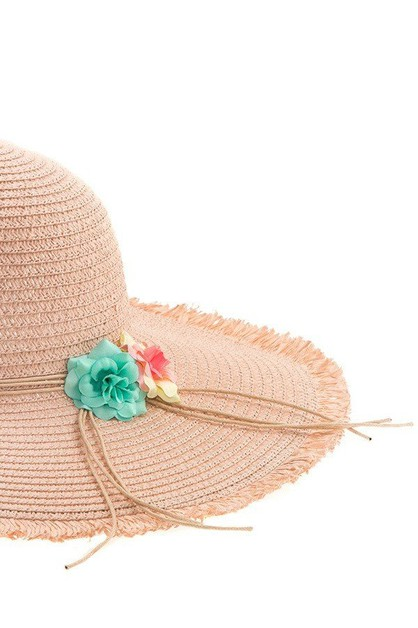 Frayed Fringe Flower Accent Sun Hat - orangeshine.com