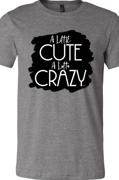A Little Cute A Lotta Crazy Gray Tee - orangeshine.com