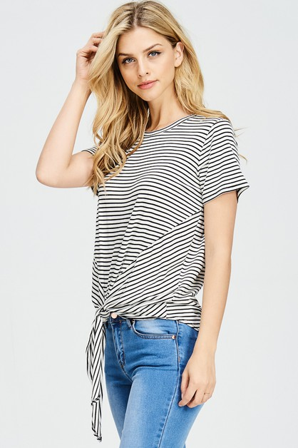 STRIPE TOP WITH TIE FRONT - orangeshine.com