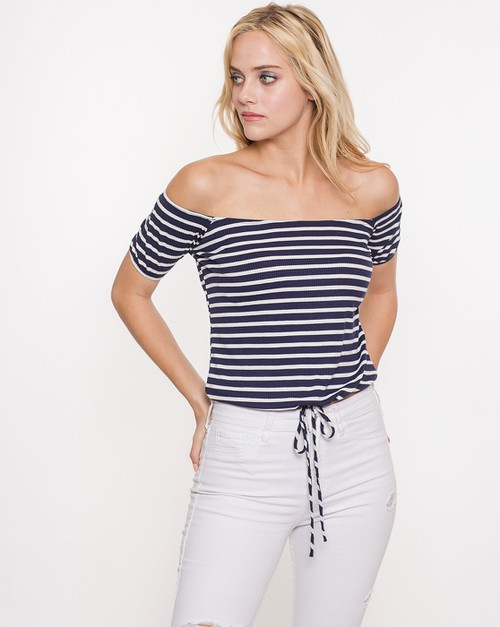Tie Bottom Striped Off Shoulder Top - orangeshine.com