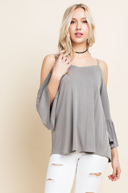 Cold Shoulder Tie-Back Blouse - orangeshine.com