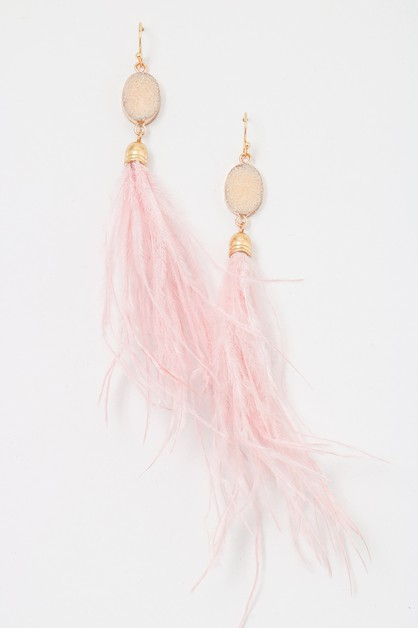 Druzy Gemstone Feather Drop Earrings - orangeshine.com