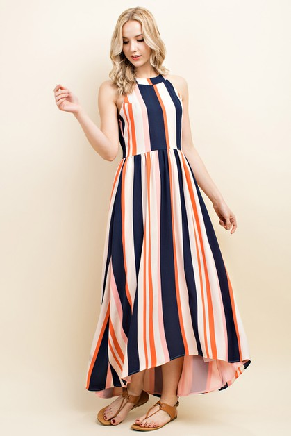 Striped High Neck Maxi Dress - orangeshine.com