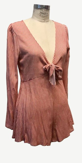 SUNDANCE CHECKERED TIE FRONT ROMPER - orangeshine.com