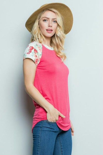 Floral Sleeves Raglan Top - orangeshine.com