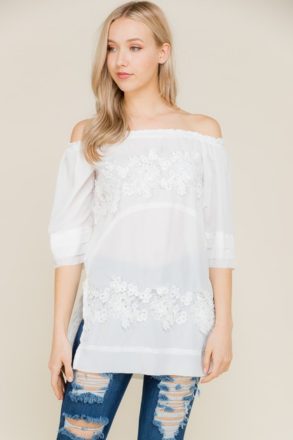 Solid Lace Off To Shoulder Top - orangeshine.com