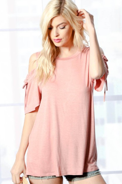 TB1807-COLD SHOULDER TOP WITH STRING - orangeshine.com
