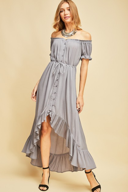 Off-shoulder button-up maxi dress - orangeshine.com