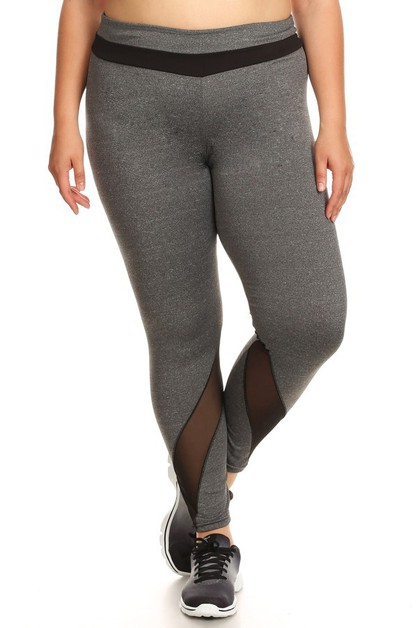 Plus Size Mesh Sports Leggings Yoga - orangeshine.com