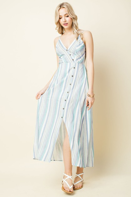 Striped Button Down Maxi Dress - orangeshine.com