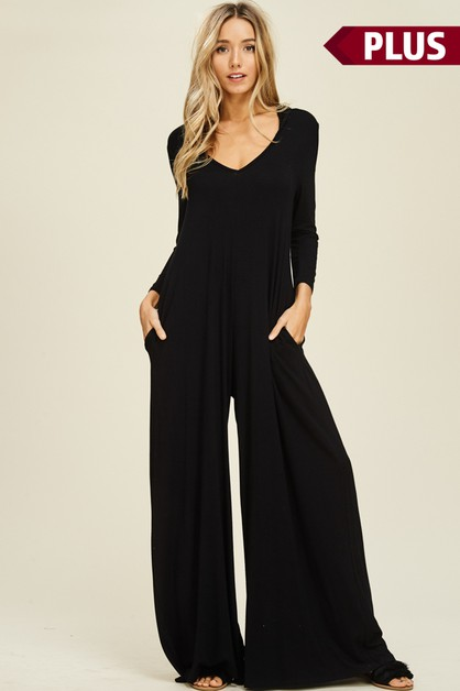 Plus Palazzo Hoodie Pocket Jumpsuit - orangeshine.com
