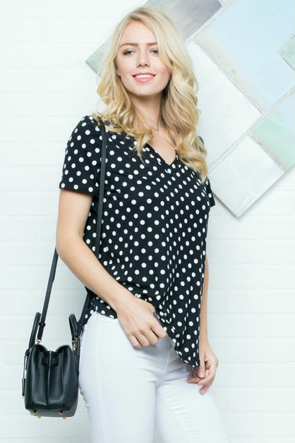 Polka Dot Pattern Hi-Lo Hem Top - orangeshine.com