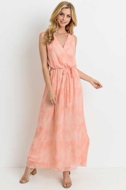 Sleeveless Belted Waist Dress - orangeshine.com