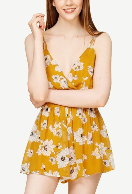 OPEN BACK ROSE PRINT ROMPER - orangeshine.com