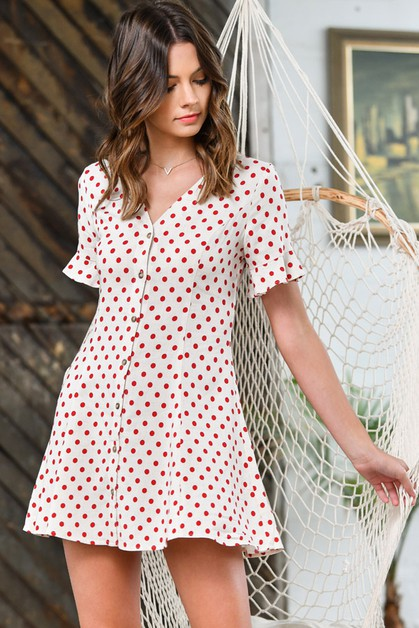 Polka Dot Button Down Dress - orangeshine.com