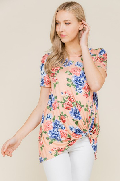 FLORAL TWISTED TOP  - orangeshine.com