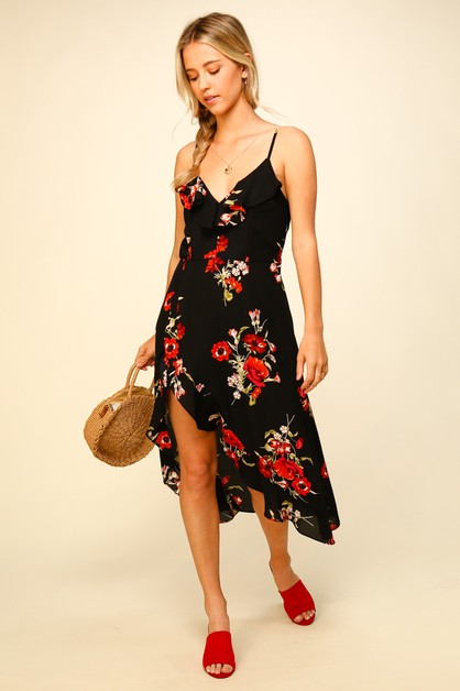Floral maxi dress with ruffle detail - orangeshine.com