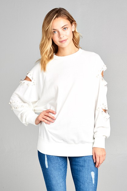 SWEATSHIRT FAUX PEARLS TOP - orangeshine.com