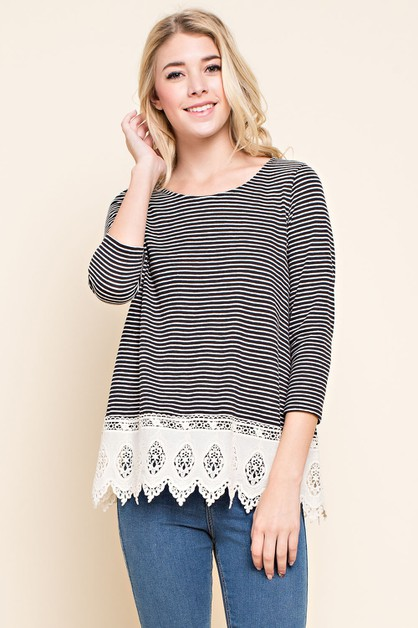 Striped Crochet Lace Trim Tee - orangeshine.com
