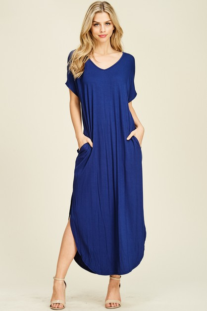 SIDE POCKET SIDE SLIT  MAXI DRESS - orangeshine.com