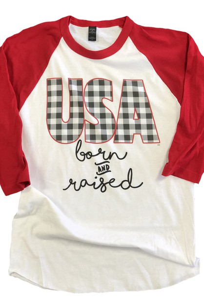 USA Born and Raised Baseball Raglan - orangeshine.com