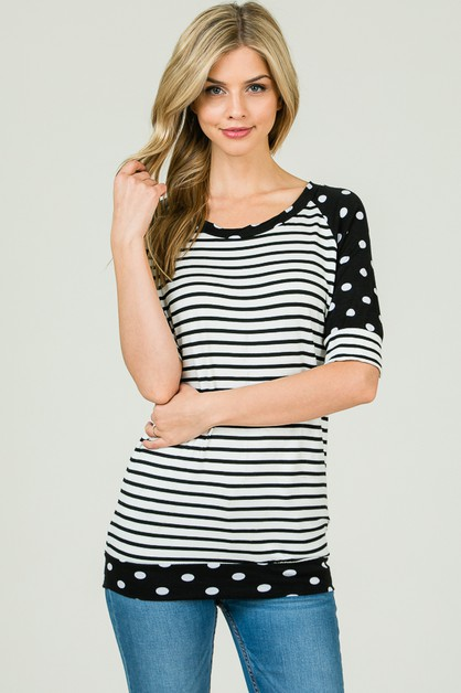 STRIPED TOP RAGLAN POLKA DOT SLEEVE - orangeshine.com
